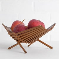 Vintage Mid Century Modern Wood Fruit Basket, Danish Foldable Kitchen Fruit Storage