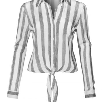 Long Sleeve Button Down Striped Crinkled Self Tie Blouse Shirt (CLEARANCE)