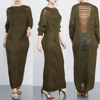Long Sweater Dresses For Women 2017 Autumn Winter Brand  Loose O-Neck Pullovers Thick Warm Tassel Knitting Dresses