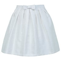 White Bow Pleated Skirt