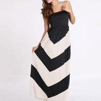 Geometric Print Strapless Empire Maxi Dress