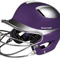 Easton Natural Two-Tone Junior Batting Helmet with Mask, Purple/Silver