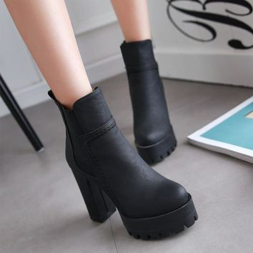 Patchwork Platform Solid Color High Chunky Heel Short Boots