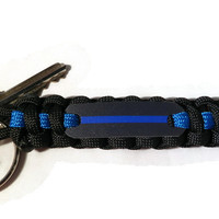 Thin Blue Line Paracord Keychain, Show support for Police Officers