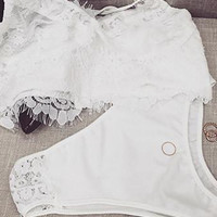 Cupshe All I Ever Wanted Ivory Lace Bralette Set