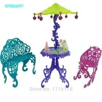 Amusement Bar Couch Chairs Table Dessert Sun Umbrella Kid Toy Dolls House Furniture For Monster High For Barbie Doll Accessories