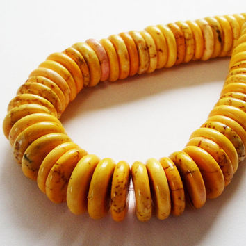 Yellow Orange Magnesite Turquoise Coin Donut Beads 28 Beads 14mmx4mm. Beads For Jewelry Making