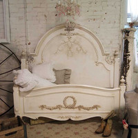 Painted Cottage Shabby Tea Stained Romance Bed by paintedcottages