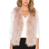 ELLIATT Culture Rabbit Fur Vest in Blush