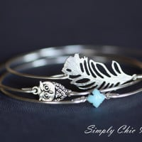Owl and Feather Silver Bangle Bracelet Set of three