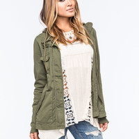 Full Tilt Eyelet Back Womens Anorak Jacket Olive  In Sizes