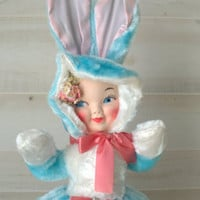 Mid Century Pajama Bag Doll, Vintage Vinyl Rubber Faced Stuffed Plush Doll, Cute Easter Bunny Rubber Face Girl Doll