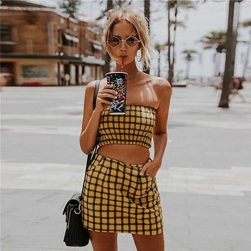 Summer Women's Fashion Hot Sale Bra Plaid Dress Bottom & Top [231671234575]