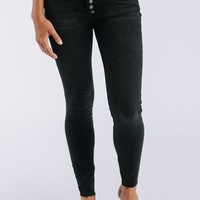 Reagan Button Front Jean in Black - cladandcloth