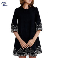 Fashionable Clothing Women Korean Style Dresses Black Round Neck Three Quarter Length Sleeve Embroidered A Line Mini Dress