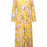 Yellow Floral Long Sleeve Maxi Chiffon Dress