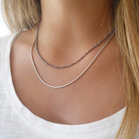 Set Of 2 Silver Necklaces. Oxidize Sterling Silver Necklaces. Layered Necklace Set. Delicate Silver Jewel.