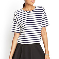 FOREVER 21 Striped Knit Top Cream/Navy
