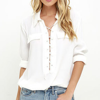 You Know It Ivory Long Sleeve Lace-Up Top