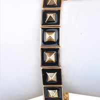 Licorice Dipped & Gold Pyramid Stretch Bracelet