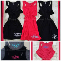 RESTOCKED - Monogram Plus Size Racerback Swim Cover Up - Casual Dress - House Dress - Lounge Dress - Ladies Womens Plus Size Monogrammed
