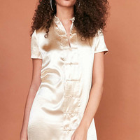 Ecote Satin Band Collar Button-Down Mini Dress - Urban Outfitters