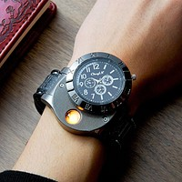 2 In 1 Rechargeable USB Watch Lighter Electronic Cigarette Lighter USB Charge Flameless Cigar Wrist Watches Lighter for Man
