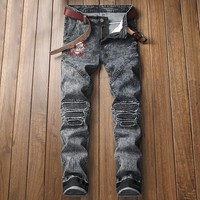 Men Strong Character Embroidery Stretch Jeans [3444983824477]
