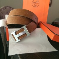 Men's Brown Hermes Belt Leather With Silver H Buckle 105cm Size 38-40
