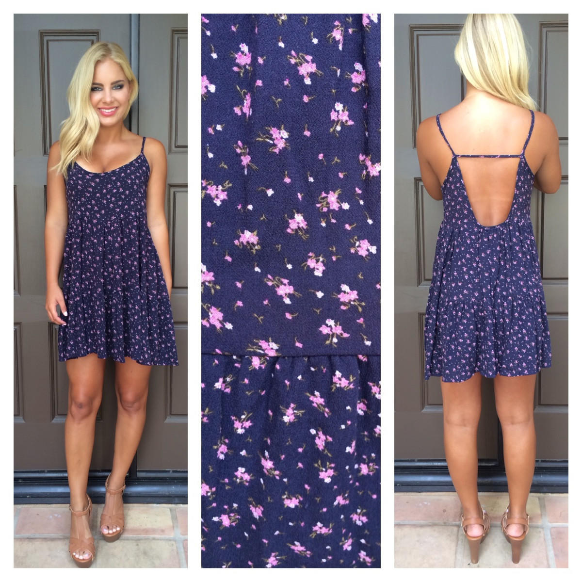Image of First Bloom Floral Print Dress - NAVY