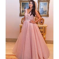 Pink Sweetheart Flowers Prom Dresses Nude Back V Neck Evening Dress
