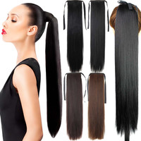 """Fake Hair Ponytail 105g 22""""Long Straight Hair Pieces Drawstring Ribbon Hairpiece Clip In Pony Tail Hair Extensions Multicolor"""