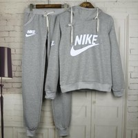 Women Fashion NIKE Print Hoodie Top Sweater Sportswear Grey-1
