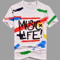 Summer Men Short Sleeve Cotton Strong Character Round-neck Men's Fashion Couple T-shirts [6542296387]