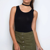 Fernanda Denim Skirt - Olive