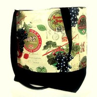 French winery tote bag with grapes stamps postal France by Patchtique
