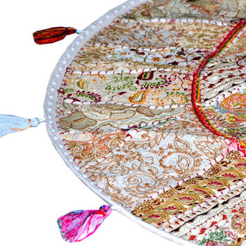 """17"""" Patchwork Round Floor Pillow Cushion round embroidered Bohemian Patchwork floor cushion pouf Vintage Indian Foot Stool Bean Bag tapestry"""