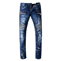 Man Jeans 100% Baumwolle High Quality Design Fashion Biker Jeans Balmai Jeans Paint Some Personality Feet Pants Men's Trousers