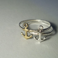 Gold Anchor Ring, Hammered Sterling Silver Ring, Handforged, Sea, Nautical Jewelry