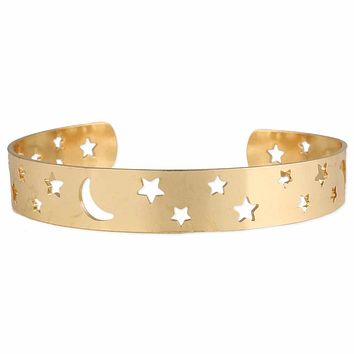 Heavens Above Gold Moon And Stars Cuff Bracelet