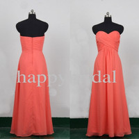 Long Coral Bridesmaid Dresses Lovely Sweetheart Prom Dresses Party Dresses Homecoming Dresses