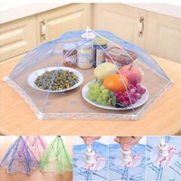 random color Umbrella Style Hexagon Anti Fly Mosquito Kitchen Cooking Tools Gauze Tulle Lace Table Food Covers for Meal Drink Fruit Picnic [8834072204]