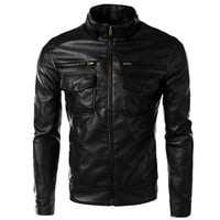 Solid Chest Pocket Zipper Closure Jacket