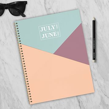 July 2021-June 2022 Blocked Angles Large Daily Weekly Monthly Planner + Coordinating Planning Stickers