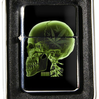Windproof Customized Chrome Oil Lighter - X-Ray  Marijuana Leaf - Collectable, Refillable, Damn Cool. :)