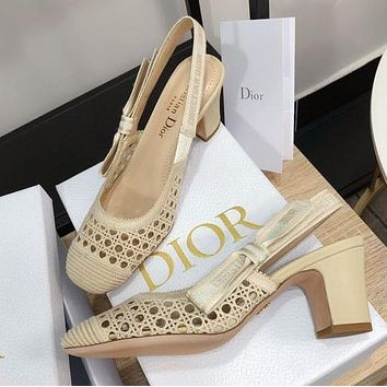 DIOR CD new hollow embroidery ladies sandals slippers Shoes