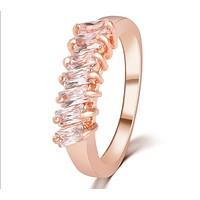 Fashion new ring crystal zircon ring simple men and women creative tail ring