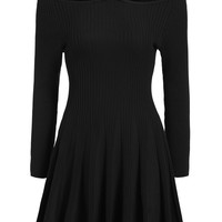 Black Halter Strap Off the Shoulder Long Sleeve Pleated Knit Dress