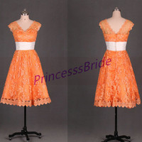 2014 tea length orange lace bridesmaid gowns,cheap simple maid of honor dress hot,cute v-neck dresses for wedding party.