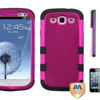 Premium New Samsung Galaxy S3 III I747 / I9300 Armor Hybrid Two Layer Phone Protector Cover Case With Purple Touch Screen Stylus Pen, Screen Protector And Pry Tool (Pink)